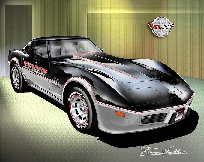 1978 Corvette art prints comes in 4 different styles
