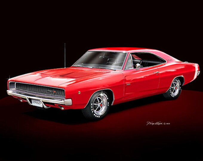 1968 Dodge Charger art prints comes in 6 different exterior colors