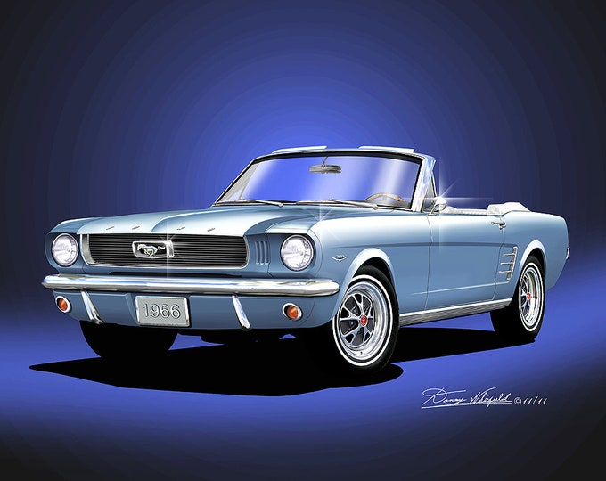 1966 Mustang convertible art prints comes in 7 different exterior colors