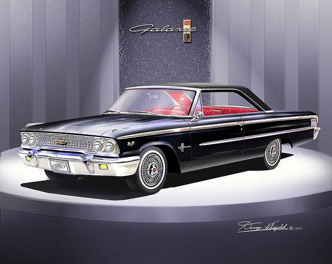 1963 Ford Galaxie art prints comes in 7 different colors