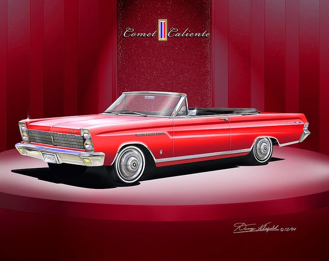 1965 Mercury Comet convertible art prints comes in 4 different colors