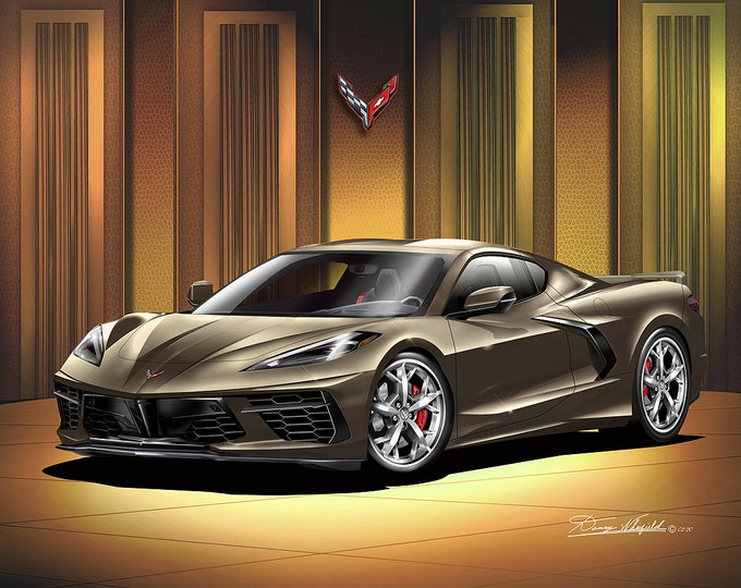 2020 C8 Corvette Stingray  Art Prints  comes in 5 different styles
