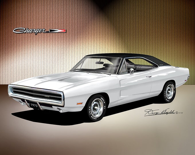 1970 Dodge Charger art prints comes in 10 different exterior colors