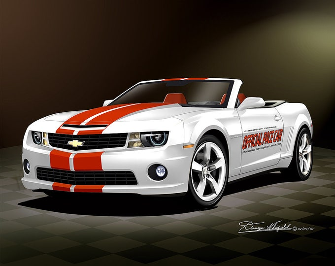 2010 Camaro Pace car art prints comes in 2 different exterior colors