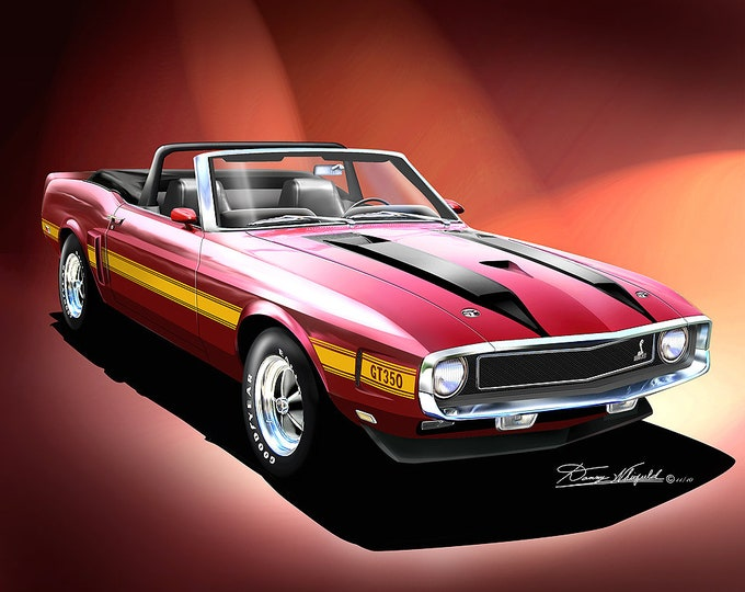 1970 Mustang Shelby Art Prints  comes in 8 different exterior color