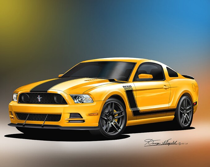 2013 - 2014  Mustang Boss 302 art prints comes in 10 different exterior color