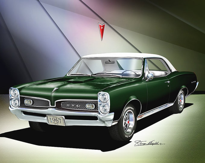 1967 Pontiac GTO art prints comes in 7 different exterior color