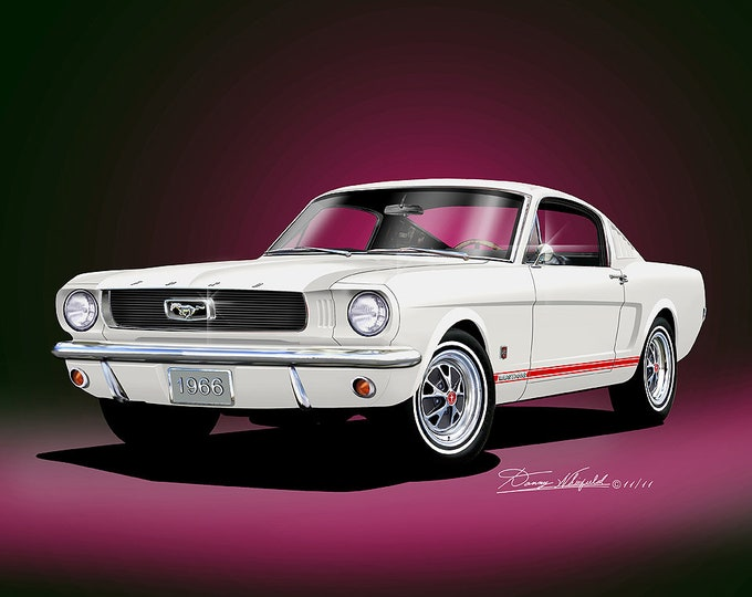 1966 Mustang Fastback Art Prints  comes in 8 different exterior colors