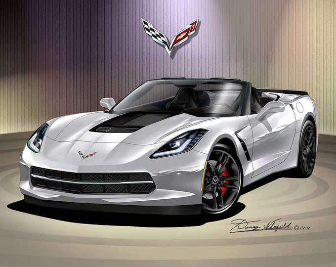 2014-2019 Corvette Stingray convertible art prints comes in 10 different exterior colors