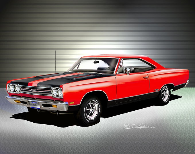 1969 Plymouth GTX  Art Prints  comes in 4 different exterior colors