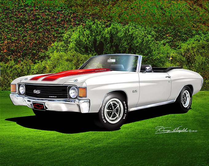 1972 Chevelle Convertible Art Prints comes in 10 different colors