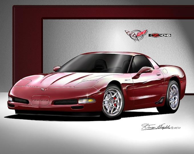 2002-2004 Corvette ZO6 art prints comes in 6 different exterior colors