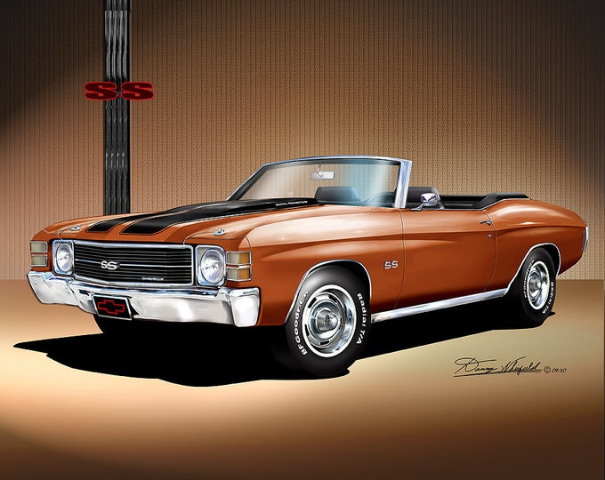 1971 Chevelle Convertible Art Prints comes in 7 different colors