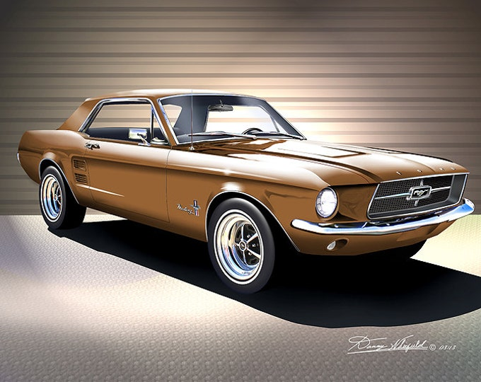 1967 Mustang Coupe Art Prints  comes in 9 different exterior color