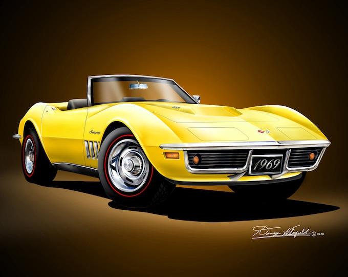 1969 Corvette art prints comes in 3 different exterior colors