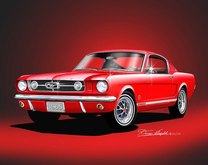 1965 Mustang art prints comes in 9 different exterior colors