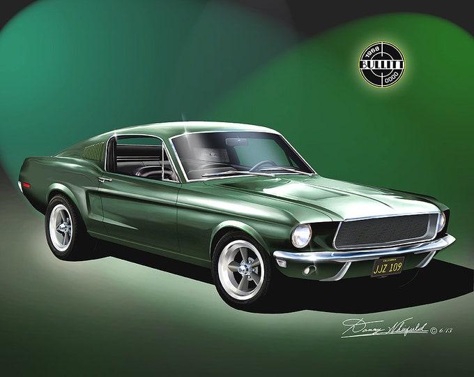 Ford Mustang Bullitt art prints all 4 generations