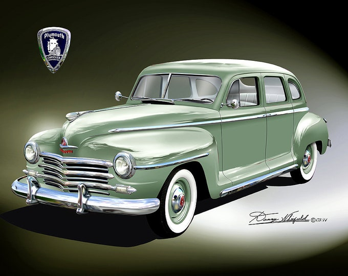 1947 Plymouth art prints comes in 8 different exterior colors
