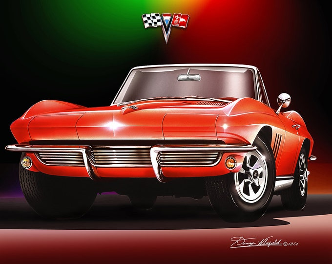 1965 Corvette Convertible  Art Prints , comes in 7 different exterior colors