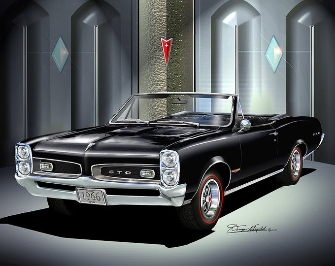 1966 Pontiac GTO Convertible art prints comes in 6 different exterior colors