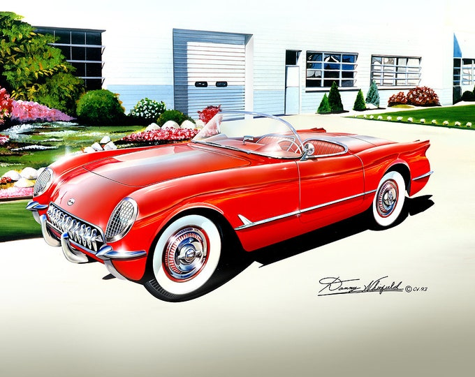 1953-1954 Corvette Convertible art prints comes in 5 different exterior colors
