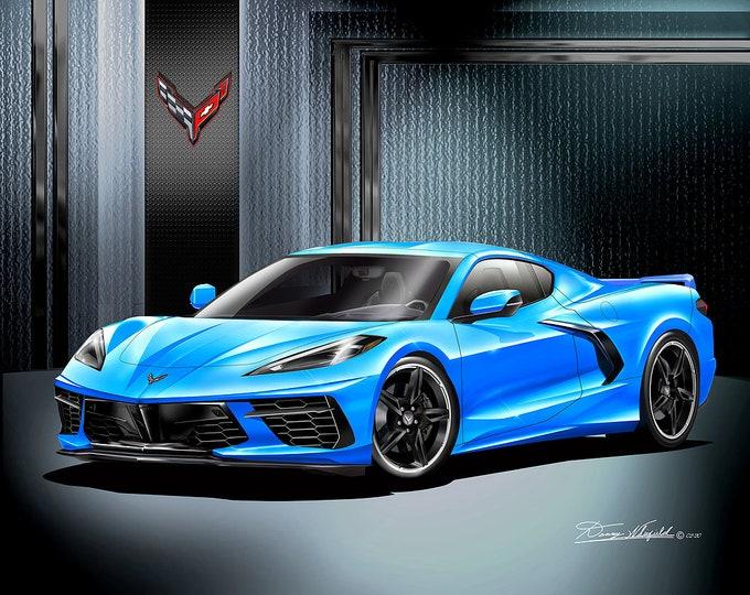 2020 C8 Corvette Stingray Art Prints  comes in 10 different styles