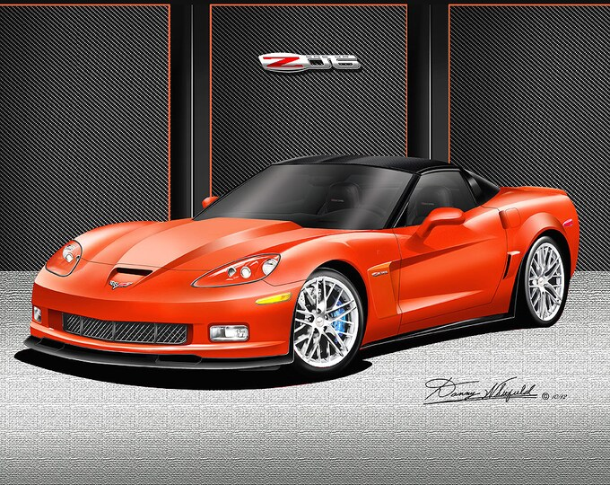 2012 Corvette ZO6 art prints comes in 6 different exterior colors