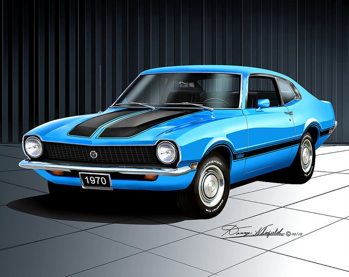 1970 Ford Maverick art prints comes in 7 different colors