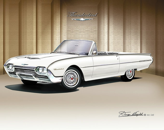 1962 Ford Thunderbird convertible art prints comes in 3 different colors