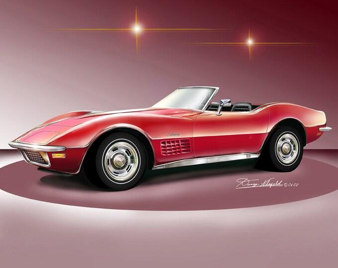 1971-1972 Corvette art prints comes in 3 different exterior colors