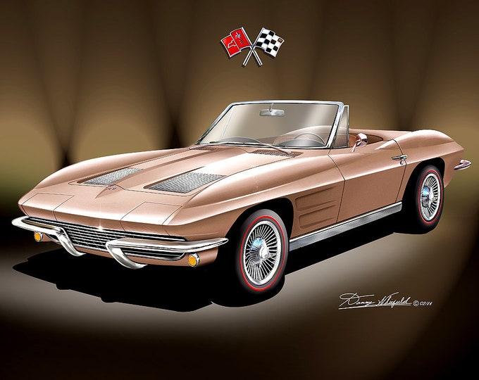 1963-1967 Corvette convertible art prints comes in 10 different colors