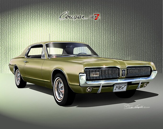 1967 Mercury Cougar Art Prints  comes in 9 different exterior color