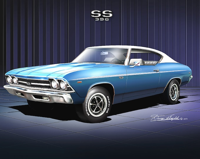 1969 Chevelle Art Prints comes in 5 different colors