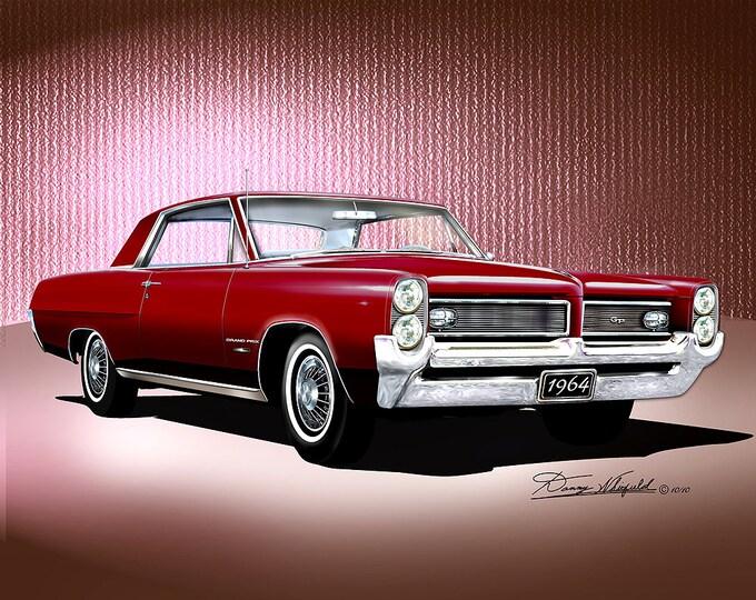 1964 Pontiac Grand Prix art prints comes in 8 different exterior colors