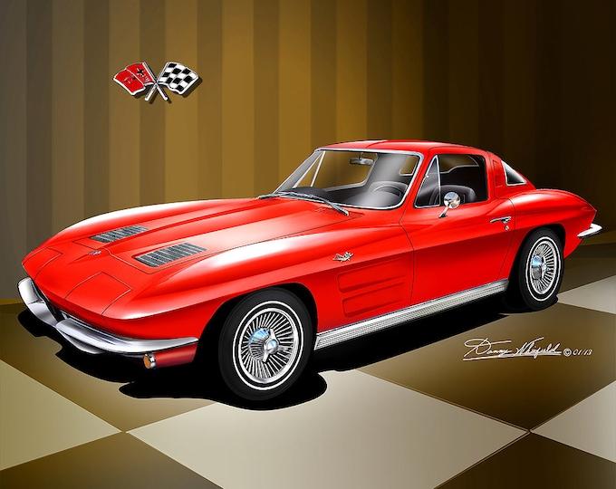 1963-1964 Corvette art prints comes in 5 different exterior colors