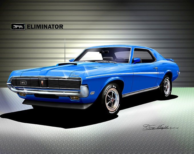 1969 Mercury Cougar art prints  comes in 9 different exterior color