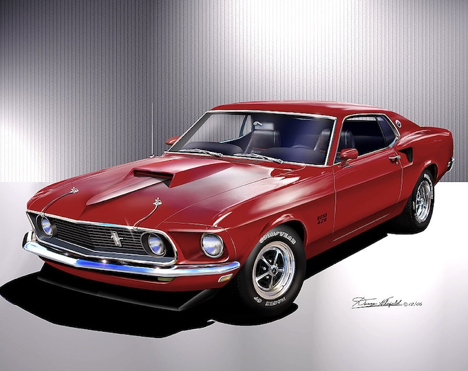 1969 Mustang Boss 429 art prints  comes in 4 different exterior color