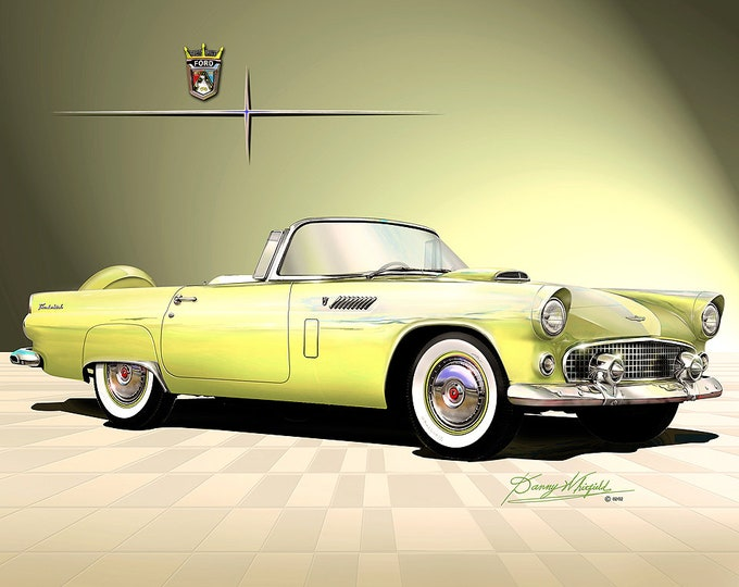 1956 Ford Thunderbird convertible art prints comes in 4 different colors