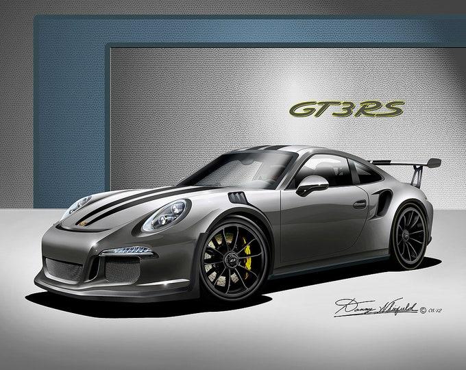 2016 Porsche GT3 art prints comes in 8 different colors