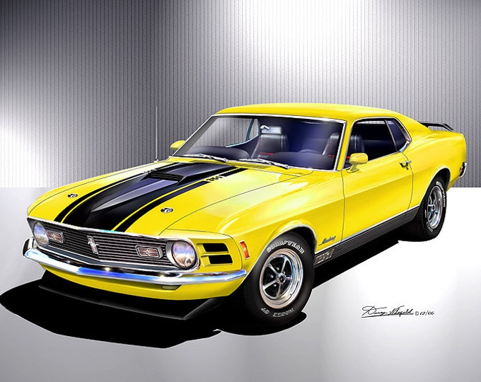 1970 Mustang Mach 1 Art Prints  comes in 7 different exterior color