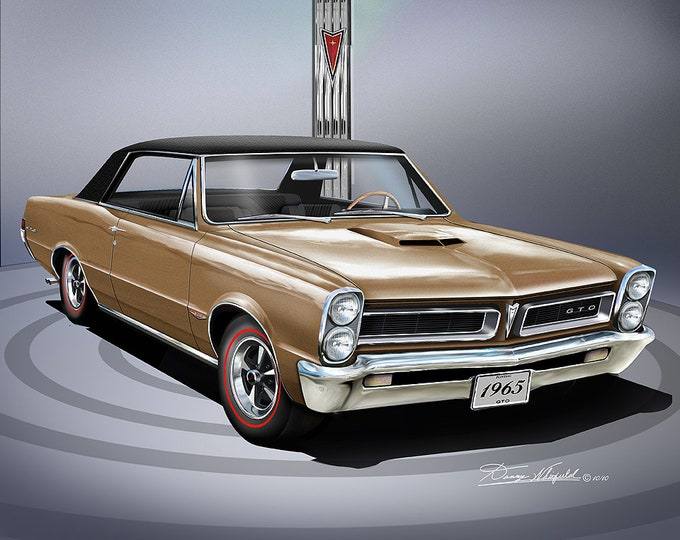 1965 Pontiac GTO art prints comes in 7 different exterior colors