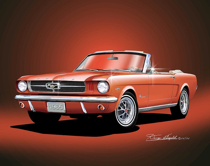 1965 Mustang Convertible Art Prints  comes in 7 different exterior colors