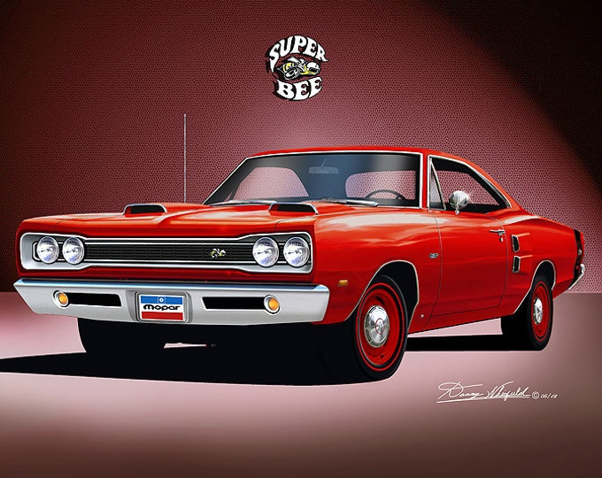 1969 Dodge Super Bee   Art Prints  comes in 8 different exterior colors