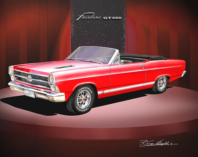 1966 Ford Fairlane convertible art prints comes in 3 different colors