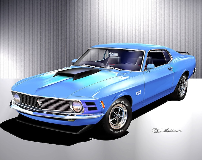 1970 Mustang Boss 429 Art Prints  comes in 4 different exterior color