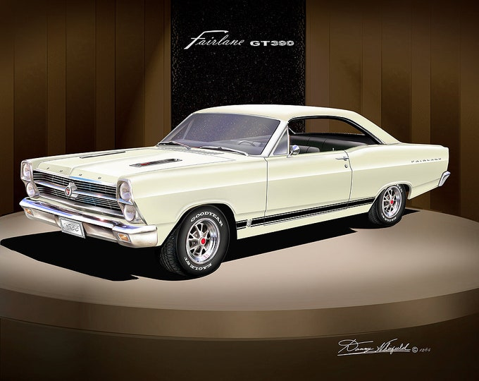 1966 Ford Fairlane art prints comes in 7 different colors