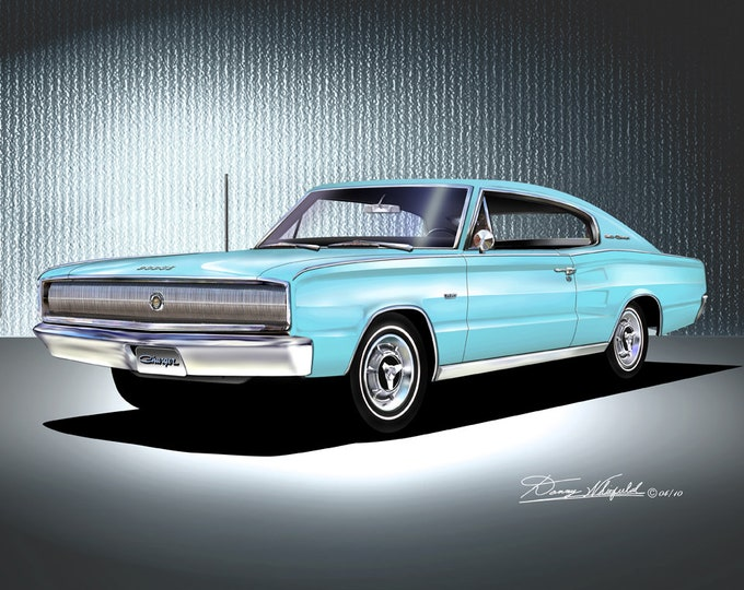 1966-1967 Dodge Charger art prints comes in 9 different exterior colors