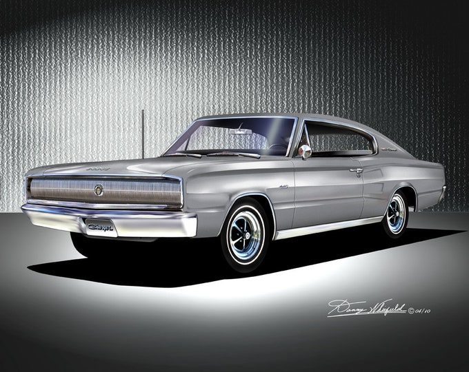 1966-1967 Dodge Charger art prints comes in 10 different exterior colors