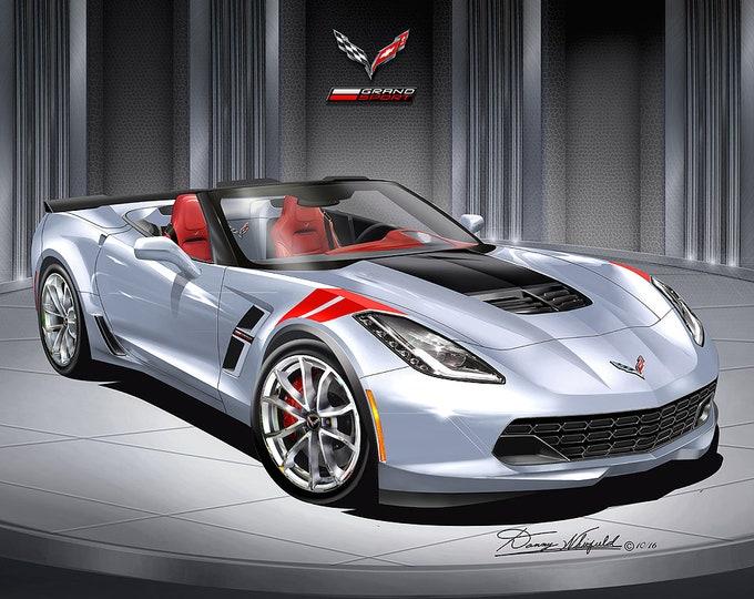 2014 2019 Corvette Grand sport Art prints comes in 9 different exterior colors