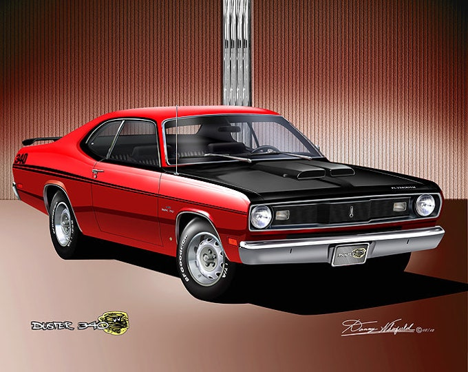 1970 Plymouth Duster 340  Art Prints  comes in 4 different exterior colors